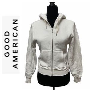 Good American Off-White Zip Hoodie